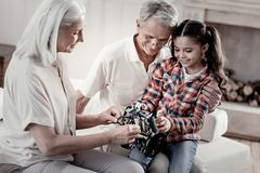 享受与孙女的爱恋的茂盛的祖父母时间 库存照片
