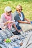 享受乐透纸牌的比赛资深妇女在公园 免版税库存图片