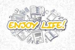 享受人生的动画片黄色词 到达天空的企业概念金黄回归键所有权 免版税图库摄影