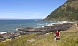 享受俄勒冈海岸线。 免版税库存图片