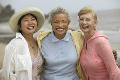 享受假期的快乐的朋友在海滩 免版税库存图片
