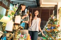 享受党的两名妇女获得乐趣 库存照片
