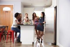 享受前晚餐的小组女性朋友在家喝 免版税库存照片