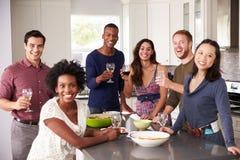 享受前晚餐的朋友画象在家喝 免版税库存图片