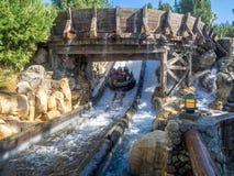 享受北美灰熊河奔跑,迪斯尼加利福尼亚冒险公园的椽木 免版税库存照片