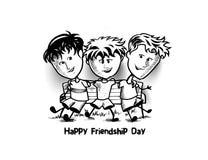享受友谊天的小组愉快的朋友 动画片手Dra 向量例证
