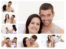 享受可爱的时候的拼贴画夫妇 免版税库存照片
