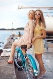 享受在口岸的两个女朋友晚上日落 免版税库存照片