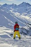 享受在山的挡雪板自然 图库摄影