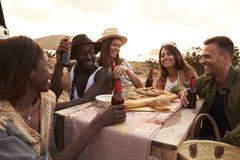 享受在峭壁的小组朋友野餐由海 图库摄影