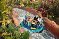 享受在无限秋天的人们乘驾在Seaworld海洋主题乐园 免版税库存图片