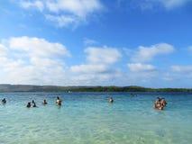 享受在海滩,委内瑞拉的法米利一天 库存图片