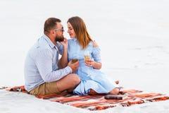 享受在白色沙滩的野餐和喝酒或香槟的愉快的夫妇在浪漫晚餐,年轻夫妇亲吻期间 免版税库存照片