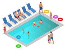 享受在豪华游泳池概念的等量家庭暑假 也corel凹道例证向量 库存图片