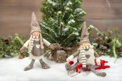 享受在雪的两个孩子假日 免版税库存图片