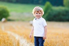 享受在麦田的愉快的白肤金发的孩子男孩日落 库存图片