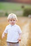 享受在麦田的愉快的白肤金发的孩子男孩日落 图库摄影