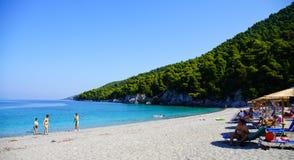 享受在Kastani海滩的夏天休假,斯科派洛斯岛 免版税库存照片