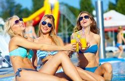 享受夏天的愉快的女性朋友在水池附近 库存图片