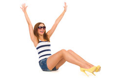 享受夏天的愉快的妇女。 免版税库存照片