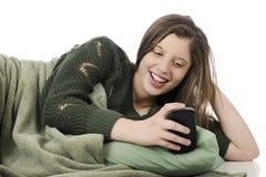 享受她的iPad 图库摄影