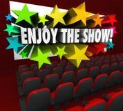 享受展示电影院屏幕娱乐乐趣 库存图片