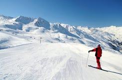 享受山景的滑雪者在滑雪跟踪 免版税库存图片