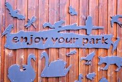 享受您的公园标志 免版税库存图片