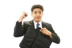享受成功的商人 免版税库存图片