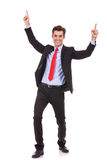 享受成功的精力充沛的新商人 免版税库存图片