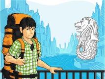 享受新加坡地标的看法游人-  库存图片