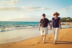 享受日落的夫妇在海滩 免版税库存图片
