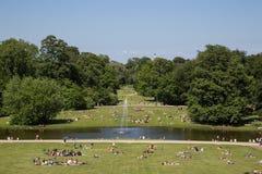 享受星期天下午的人们在公园 库存图片