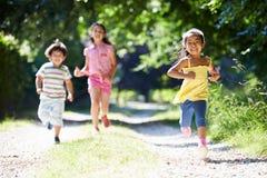 享受步行的三个亚裔孩子在乡下 免版税库存图片