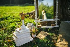 享受浪漫日落野餐的有吸引力的夫妇在国家 库存图片