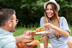 享受浪漫野餐的美好的年轻夫妇在公园 免版税库存照片