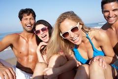 享受海滩节假日的组朋友 免版税库存照片
