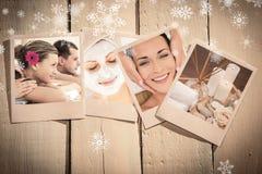 享受温泉治疗的快乐的年轻夫妇的综合图象 免版税库存照片