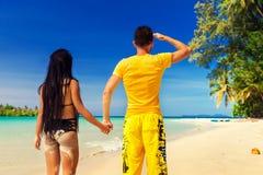 享受热带沙滩的激动人心的景色的一对爱恋的夫妇 图库摄影