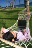 享受生活工作的海滩 免版税图库摄影