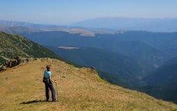 享受看法的远足者 免版税库存照片