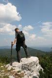 享受看法的远足者 图库摄影