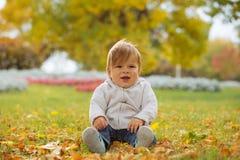 享受秋天时间的孩子 免版税库存照片