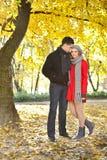 享受秋天的爱夫妇在公园 免版税库存图片
