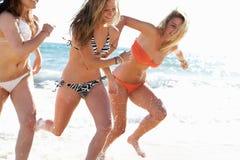 享受节假日的组女孩 免版税库存图片