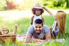 享受野餐远足的家庭 库存照片