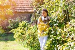 享受阳光的一名美丽的妇女在秋天期间 免版税库存照片