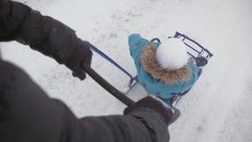 享受雪橇乘驾的小男孩 母亲雪撬他逗人喜爱的孩子 家庭户外冬天活动 有愉快的家庭 股票视频
