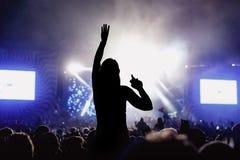 享受音乐节音乐会的女孩 库存照片