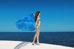 享受 有吹的组织的时装模特儿妇女在蓝天 图库摄影